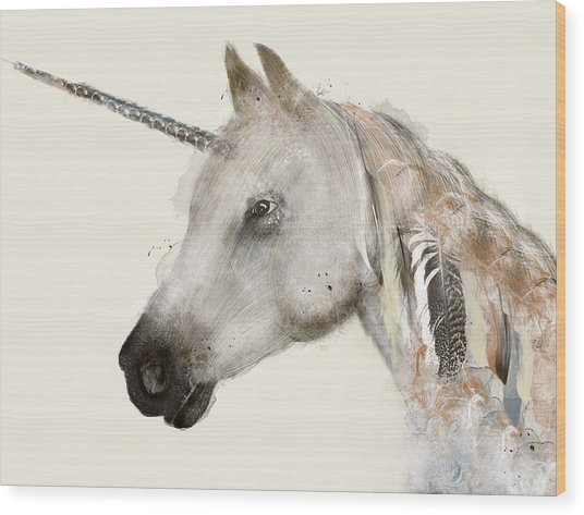 The Unicorn Wood Print
