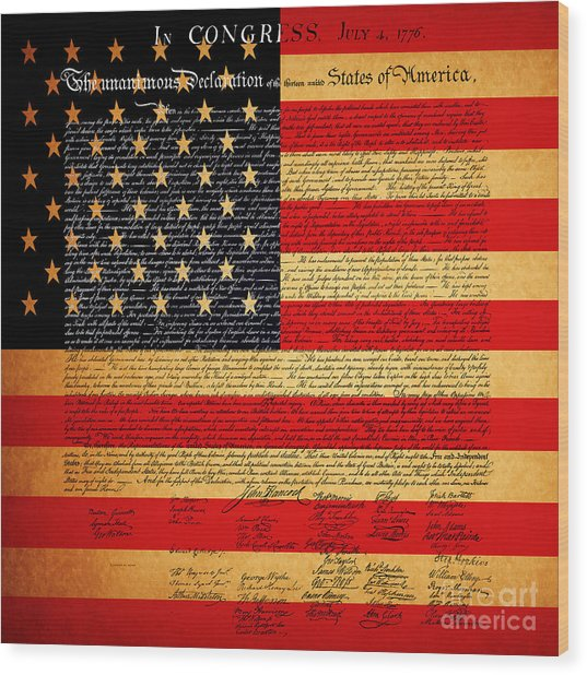 The United States Declaration Of Independence - American Flag - Square Wood Print
