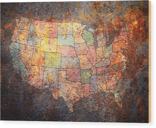 The United States Wood Print