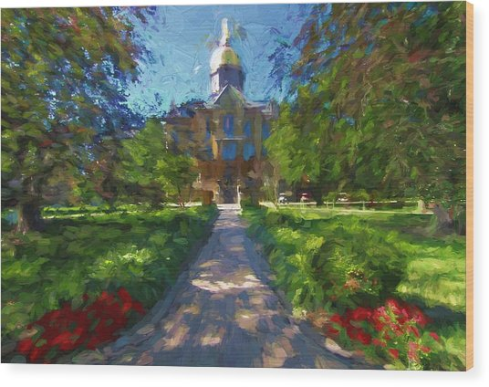 The University Of Notre Dame Wood Print