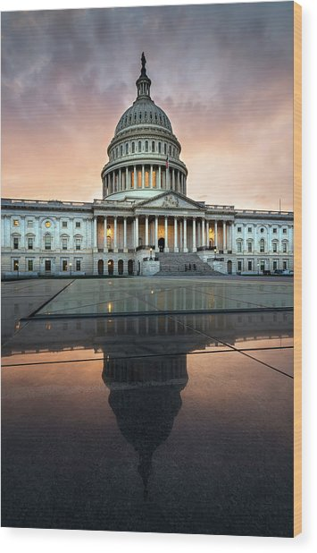 Wood Print featuring the photograph The Us Capital by Ryan Wyckoff
