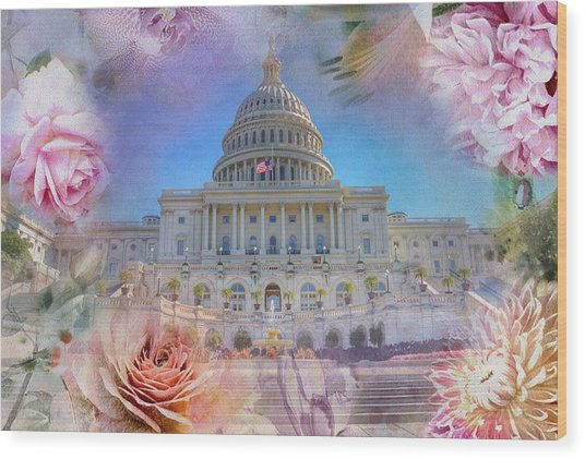 The Us Capitol Building At Spring Wood Print