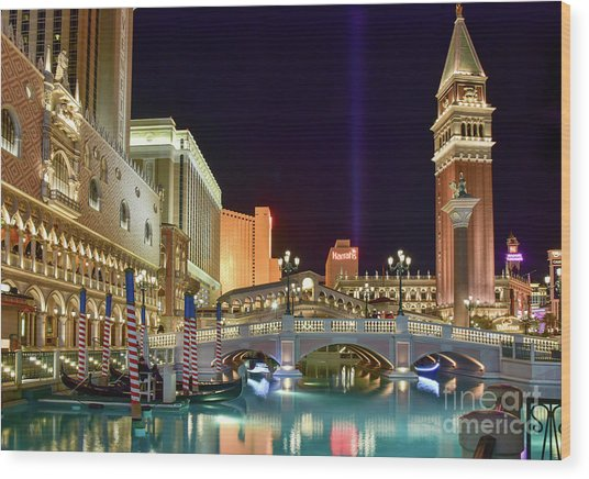 The Venetian Gondolas At Night Wood Print