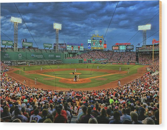 The View From Behind Home Plate - Fenway Park Wood Print
