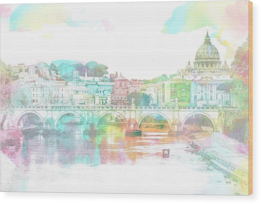 The View From Castel Sant'angelo Towards Ponte Sant'angelo, Brid Wood Print