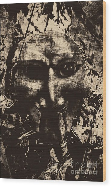 The Vintage Puppet Mask Wood Print