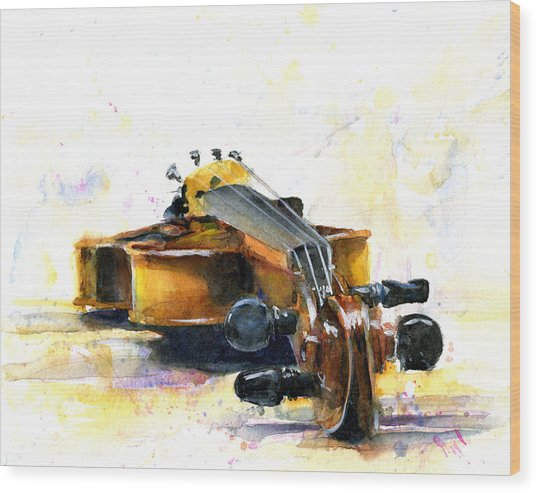 The Violin Wood Print