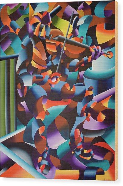 The Violin Player In Paris Wood Print