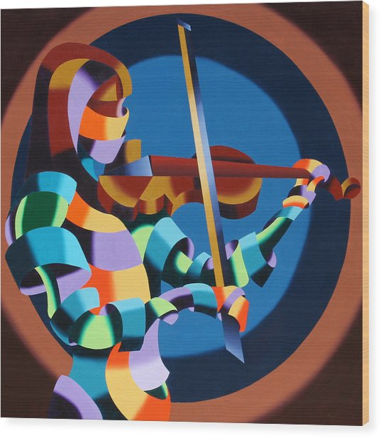 The Violinist Wood Print by Mark Webster