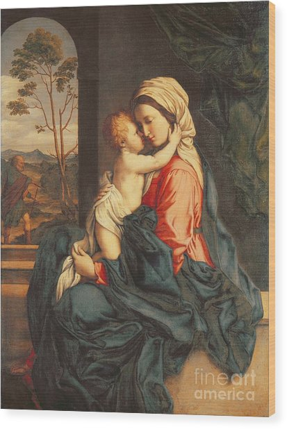 The Virgin And Child Embracing Wood Print