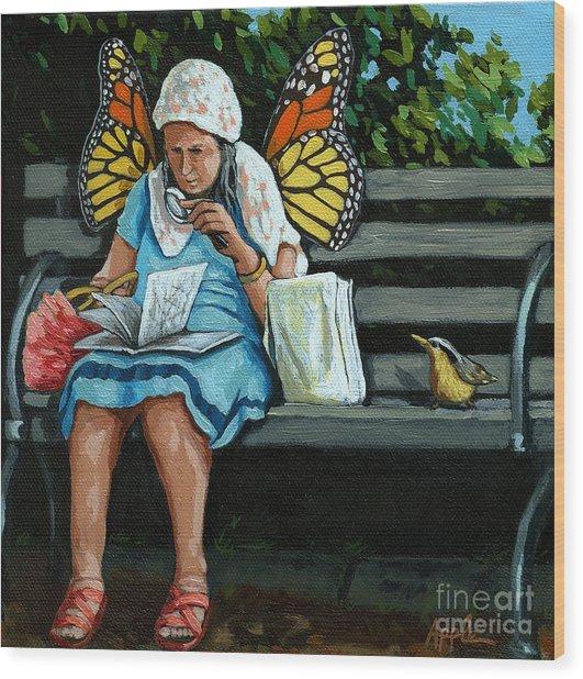 The Visiting Angel - Fantasy Painting Wood Print