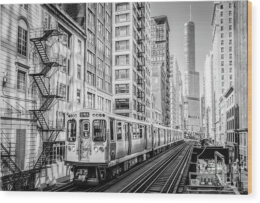 The Wabash L Train In Black And White Wood Print
