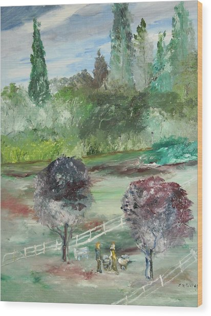 The Walk Through The Park Wood Print by Edward Wolverton