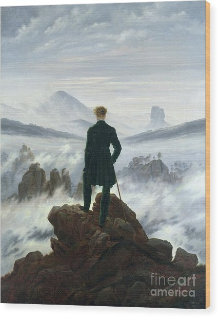 The Wanderer Above The Sea Of Fog Wood Print