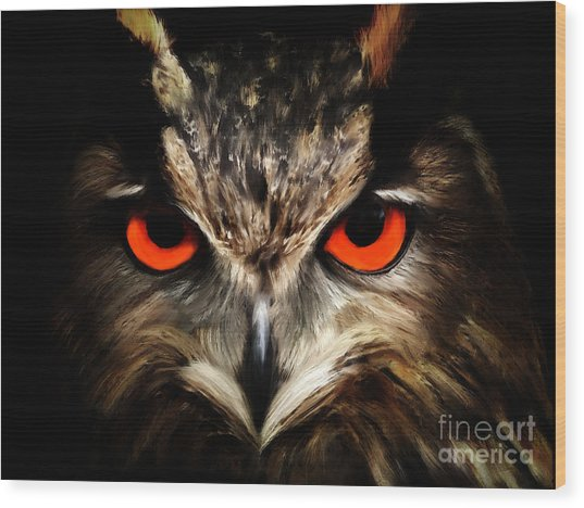 The Watcher - Owl Digital Painting Wood Print