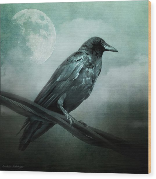 The Watcher Surreal Raven Crow Moon And Clouds Wood Print