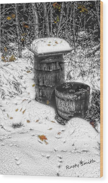 The Water Barrel Wood Print