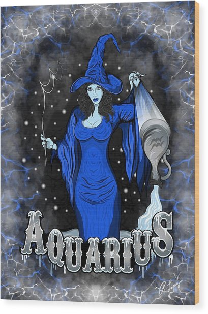 The Water Bearer Aquarius Spirit Wood Print