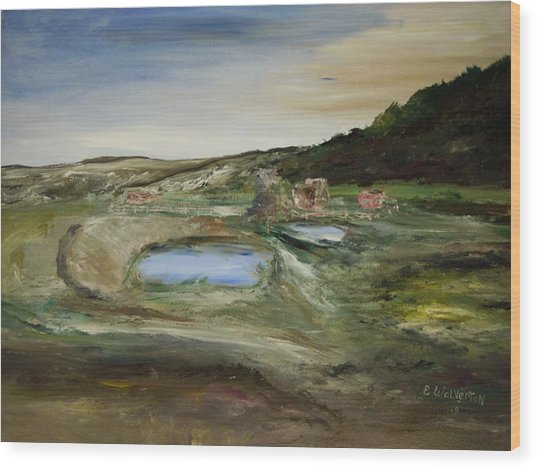 The Water Hole Ranch Wood Print by Edward Wolverton
