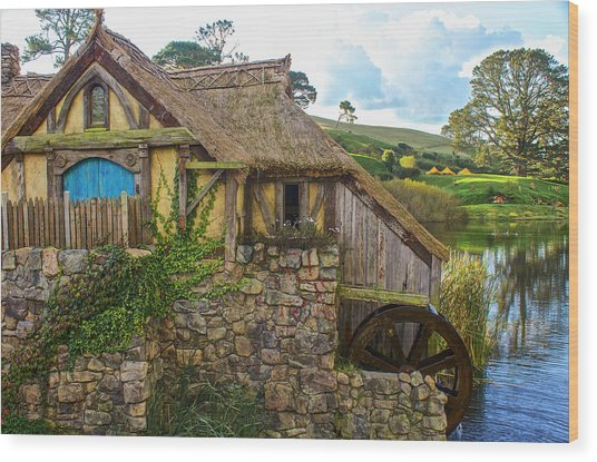 The Watermill, Bag End, The Shire Wood Print