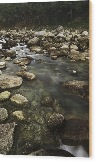 The Waters Flow Wood Print
