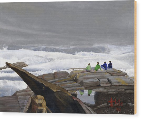 The Wave Watchers Wood Print