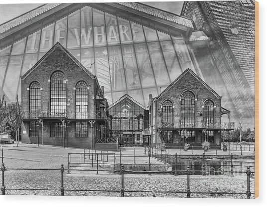 The Wharf Cardiff Bay Mono Wood Print