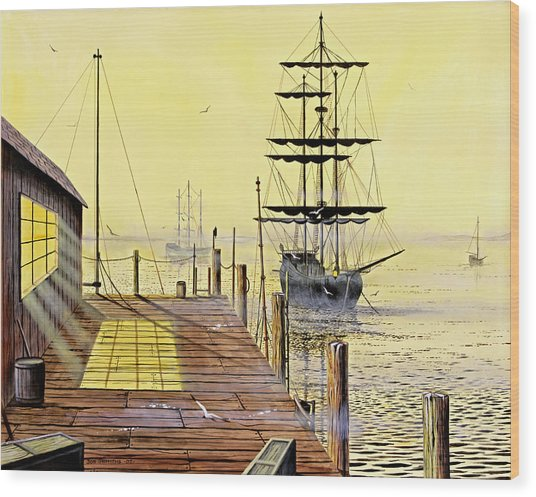The Wharf Wood Print by Don Griffiths