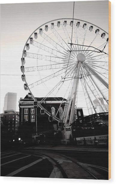 The Wheel Black And White Wood Print