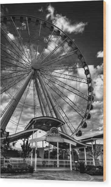The Wheel Entrance In Black And White Wood Print