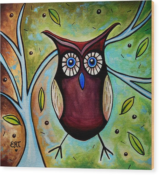 The Whimsical Owl Wood Print