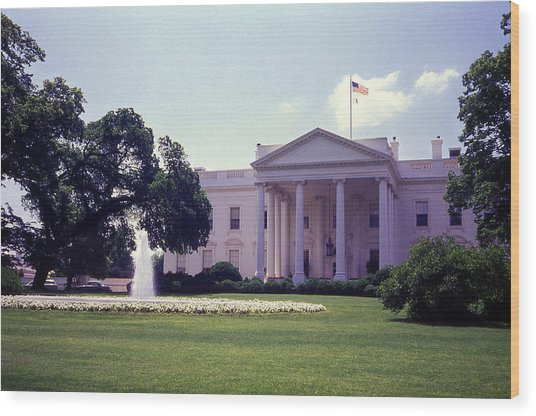 The White House Front Lawn Wood Print by Richard Singleton
