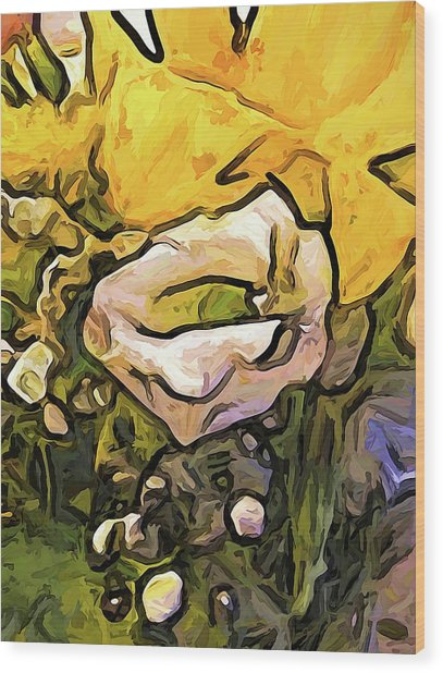 The White Rose With The Eye And Gold Petals Wood Print
