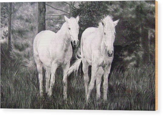 The White Stallions Wood Print