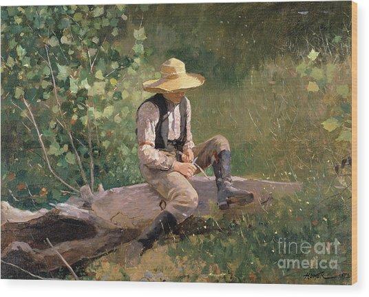 The Whittling Boy Wood Print