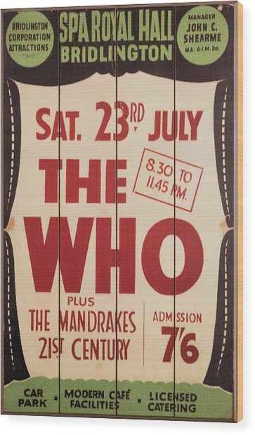 The Who 1966 Tour Poster Wood Print