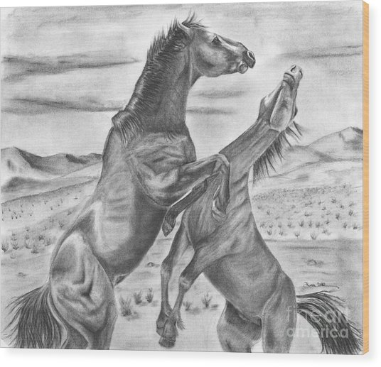 The Wild West Mustangs Wood Print by Russ  Smith