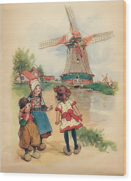 The Windmill And The Little Wooden Shoes Wood Print