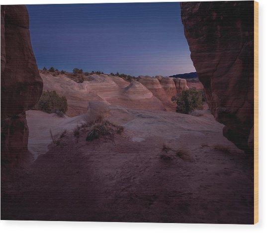 The Window In Desert Wood Print