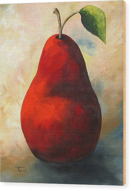 The Wine Red Pear  Wood Print by Torrie Smiley