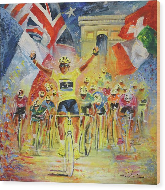 The Winner Of The Tour De France Wood Print