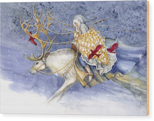 The Winter Changeling Wood Print by Janet Chui