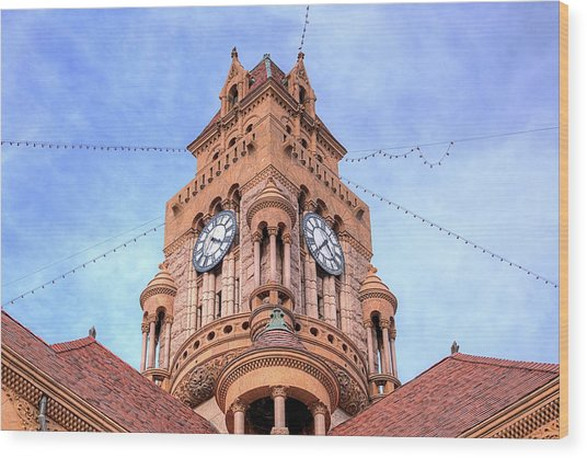 The Wise County Courthouse Clock Tower Wood Print by JC Findley
