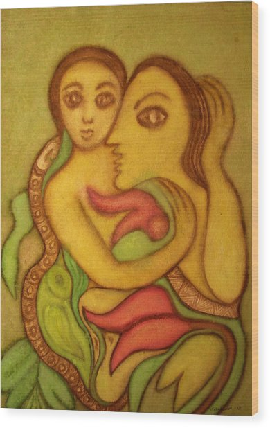 The Wise Serpent Wood Print by Nabakishore Chanda