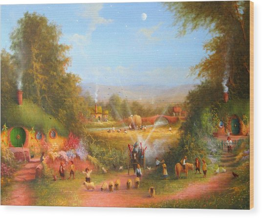 Fireworks In The Shire. Wood Print