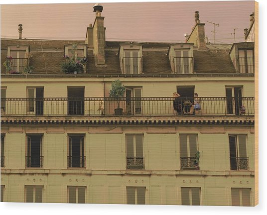 The Women On The Balcony Wood Print by Louise Fahy