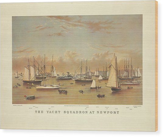 The Yacht Squadron At Newport Wood Print
