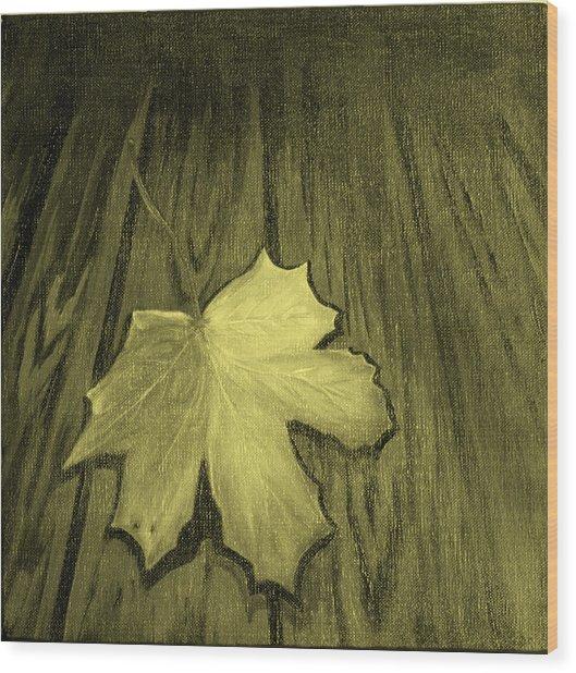 The Yellow Leaf Wood Print by Ninna