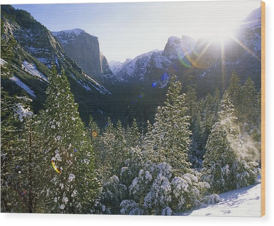 The Yosemite Valley In Winter Wood Print