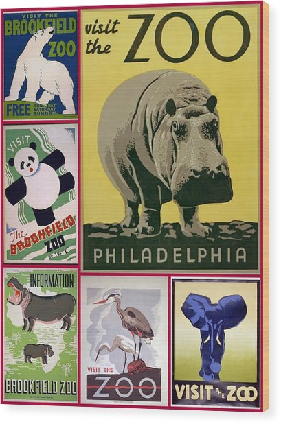 The Zoo 1930s And 1940s Poster Art Wood Print